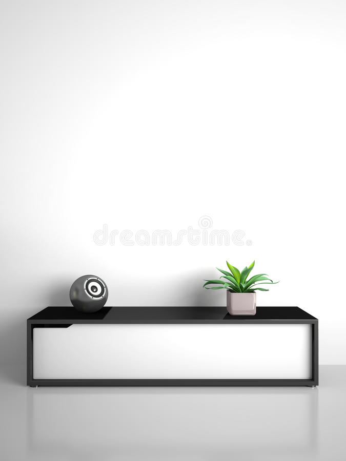 Part of modern interior with cabinet and speaker vector illustration