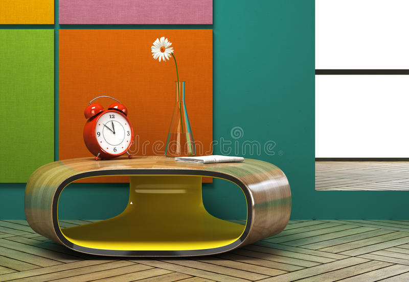 Part of the modern interior with a red alarm clock stock illustration