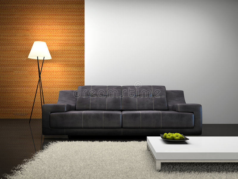 Part of the modern interior with sofa. 3D rendering royalty free illustration
