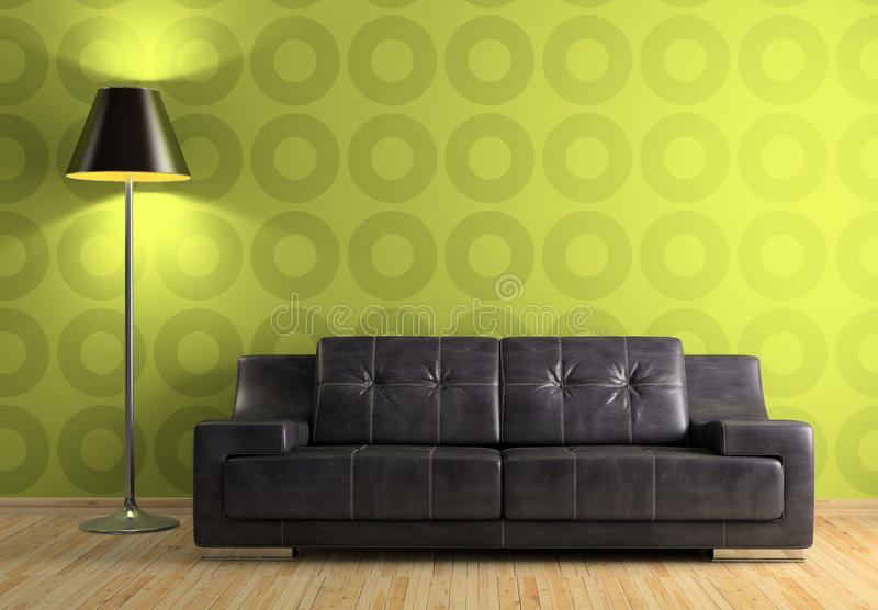 Part of the modern interior with sofa and lamp. 3D rendering vector illustration