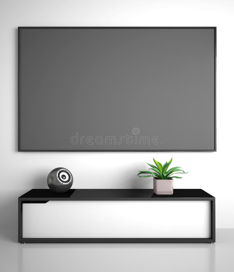 Part of modern interior with TV vector illustration