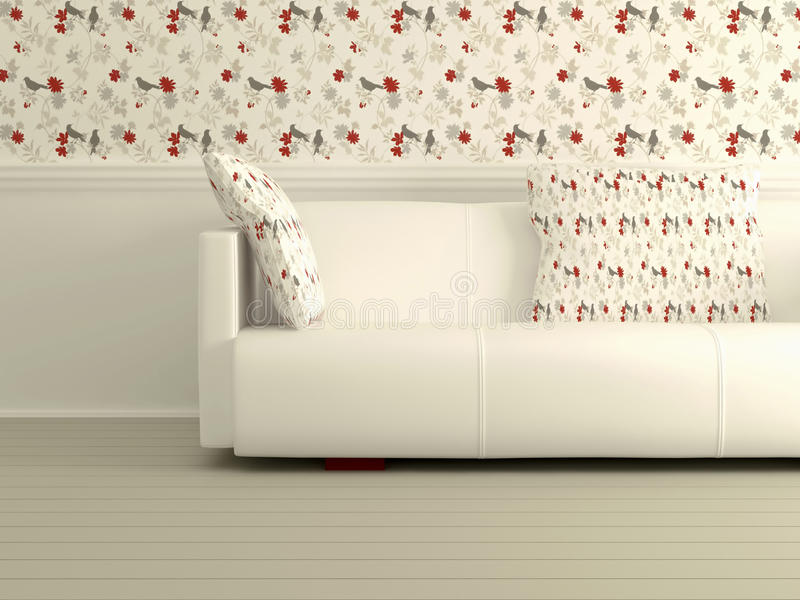 Part of the modern interior with white sofa stock illustration