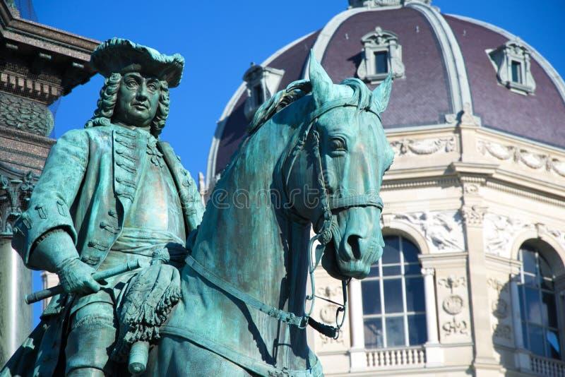 Part of the monument to Maria Terezia, man on horseback stock image