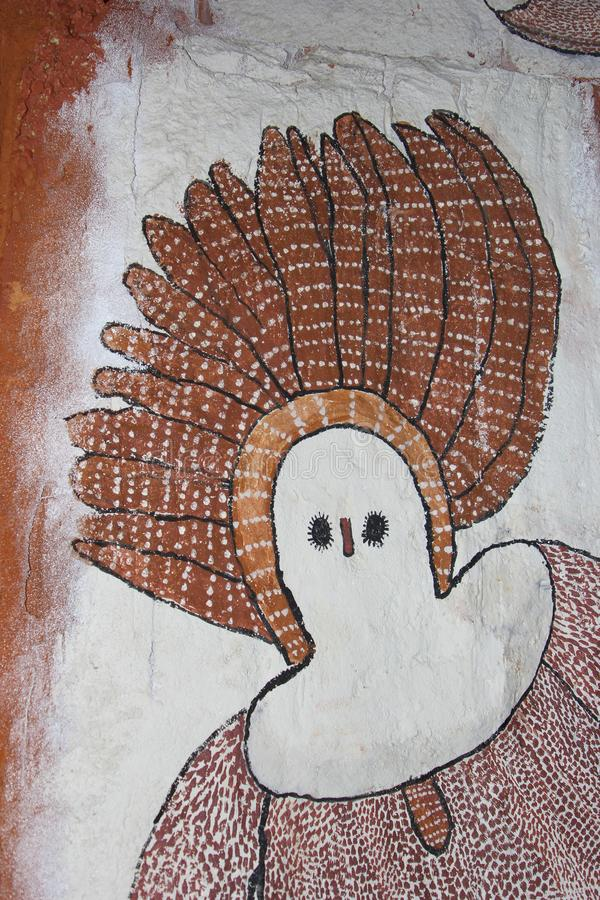 Native Aboriginal woman wall painting, Perth, Australia. Part of a native Aboriginal artwork, painted on a wall in the Western Australian Museum in Perth stock photo