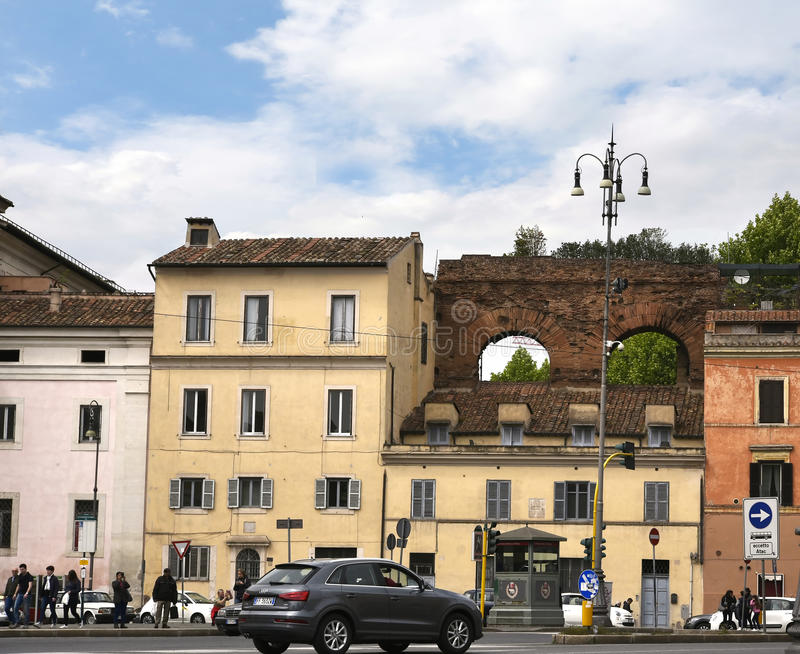 Part of Nero`s Aquaduct close by the Basilica of St John Lateran in Rome Italy stock photography