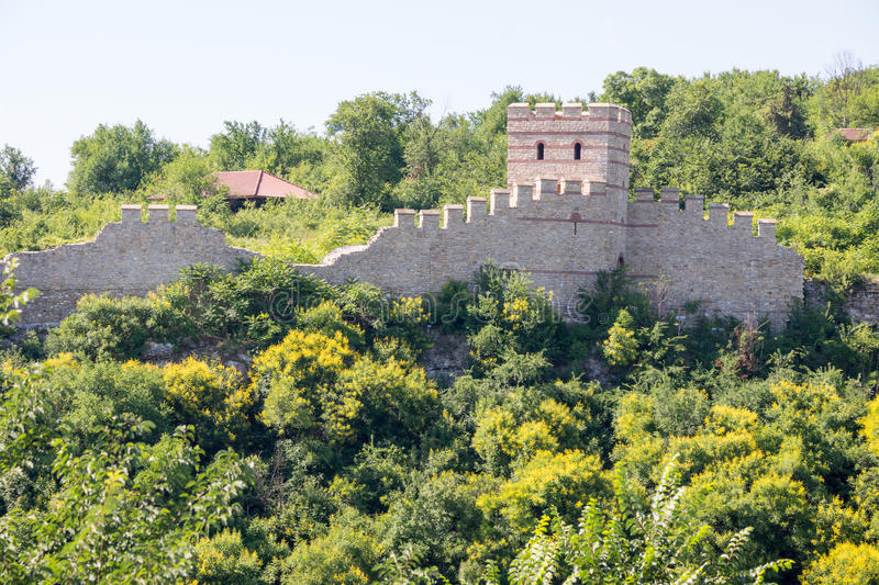 Part of an old fortress wall in Veliko Tarnovo stock photo