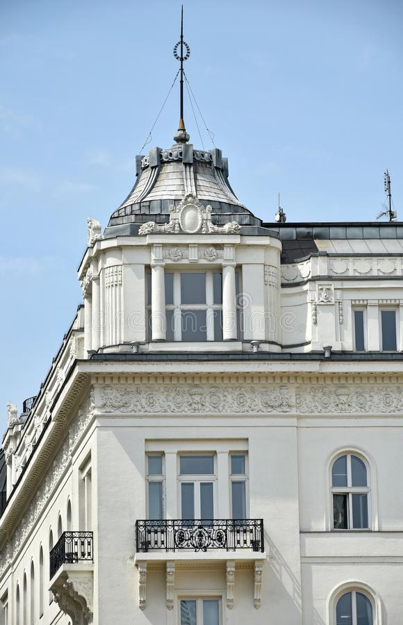 Part of an old ornate building, Budapest, Hungary stock images