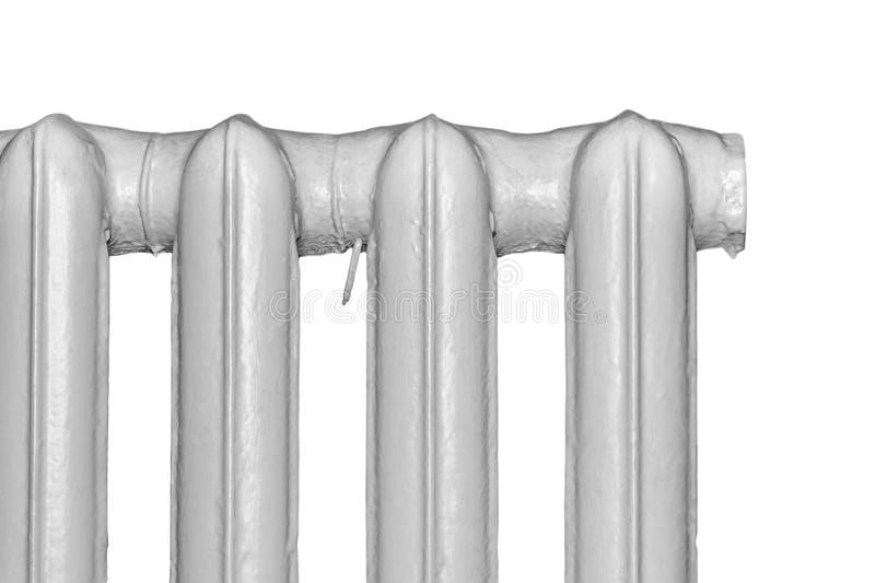 Part of the old radiators. Isolated on a white background stock photography