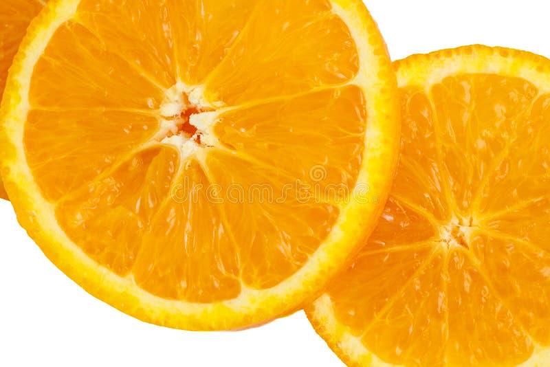 Part orange d'isolement sur le fond blanc Fruit frais Vue sup?rieure image libre de droits
