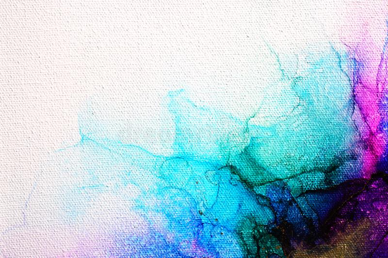Part of original alcohol ink painting on canvas stock photo