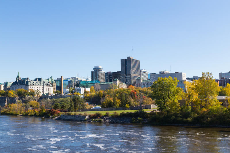 Part of the Ottawa Skyline during the day. From across the Ottawa River stock photo