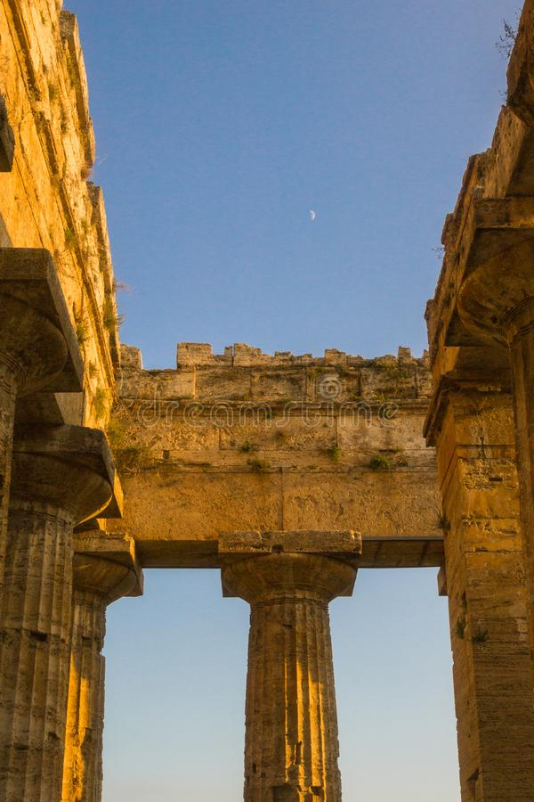 Part of Paestum temple stock image