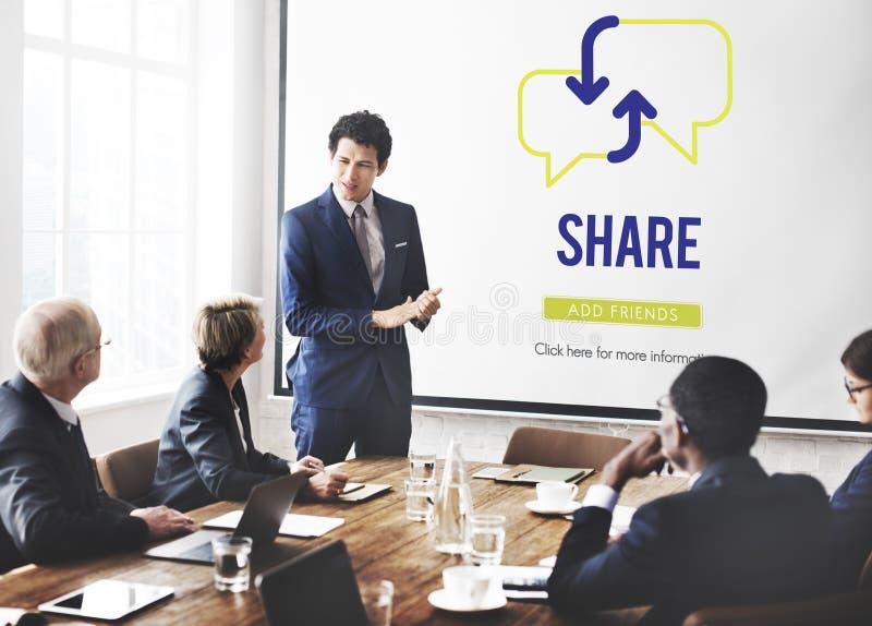 Part partageant le concept de communication de connexion photos stock