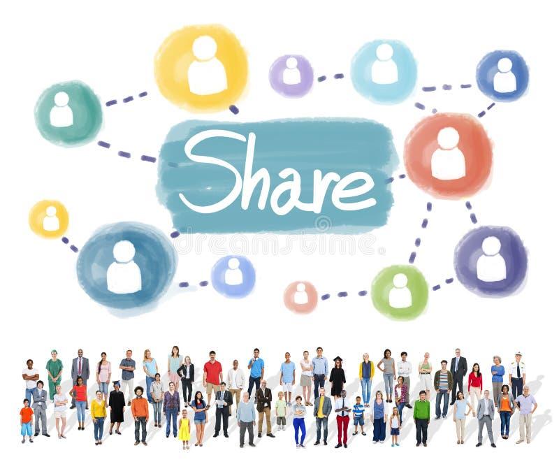 Part partageant le concept de mise en réseau de connexion photos libres de droits