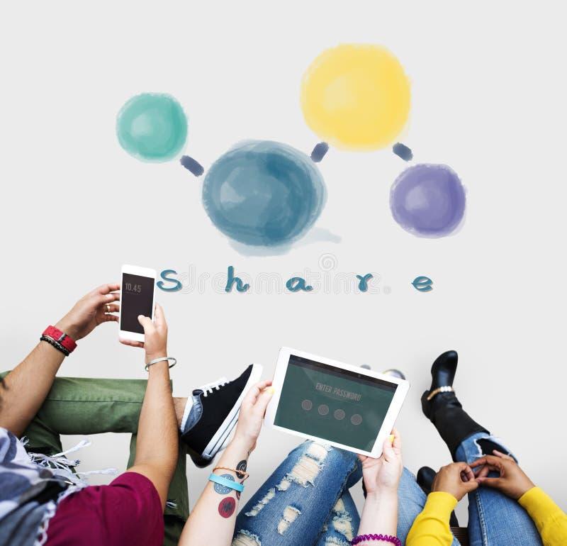 Part partageant le concept social se reliant de media de réseau photo libre de droits