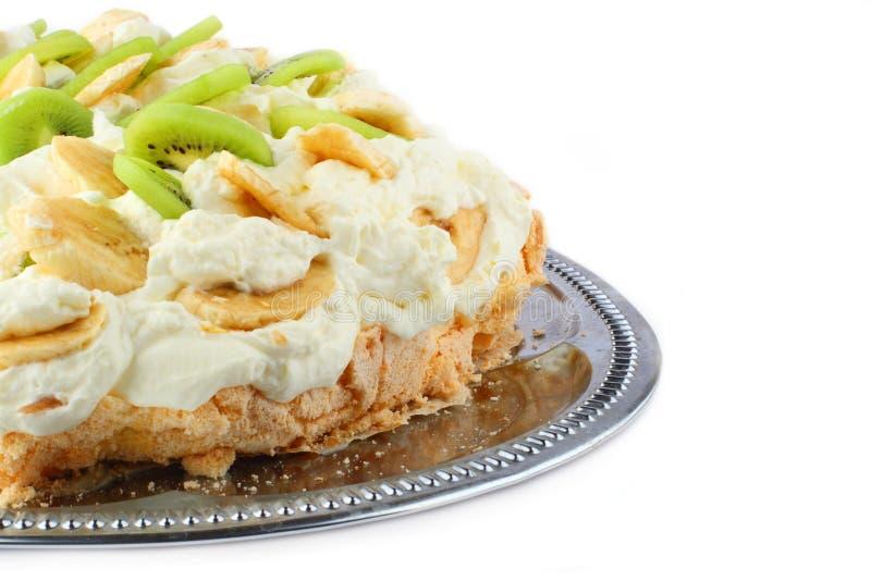 Download Part Of Pavlova Cake With Banana And Kiwi Over Met Stock Image - Image: 4891043