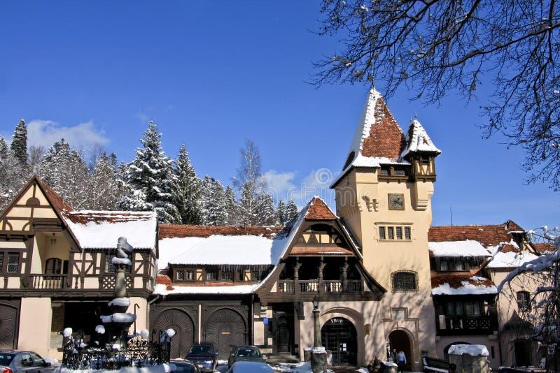 Part of the Peles Complex, Sinaia, Romania. Peles Castle Complex in winter, Romania stock photo
