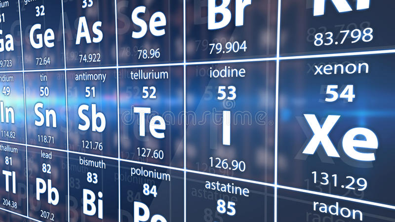 A part of Periodic table of elements. stock illustration