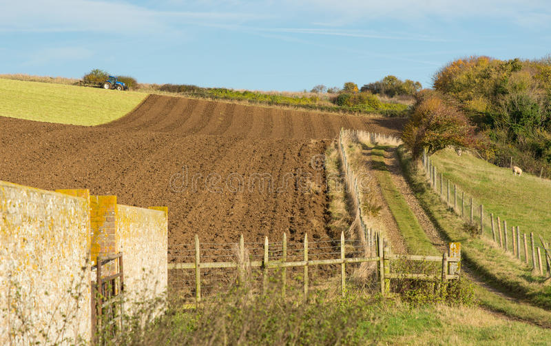 Part ploughed field on South Downs, Sussex, England stock photos