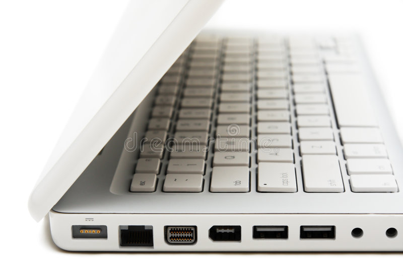 Part with ports of white laptop