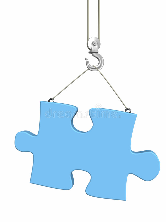 Part puzzle on hook elevating crane. Object over white royalty free illustration