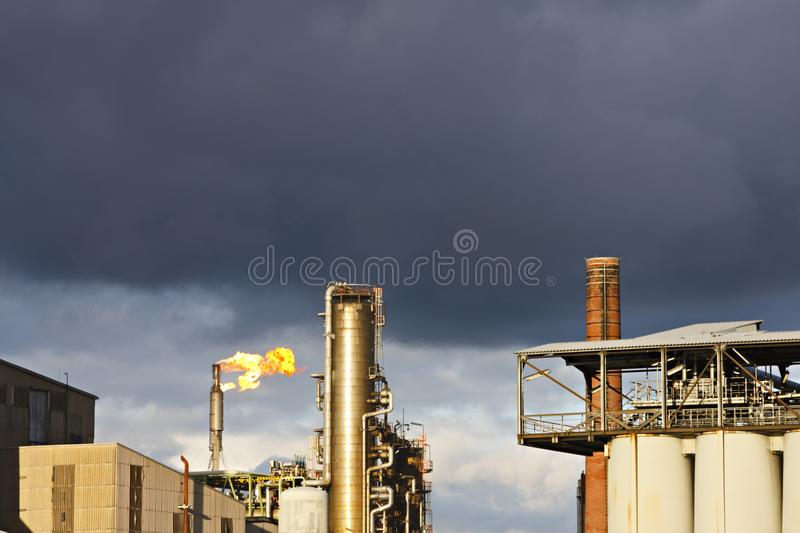Flare And Refinery royalty free stock photo