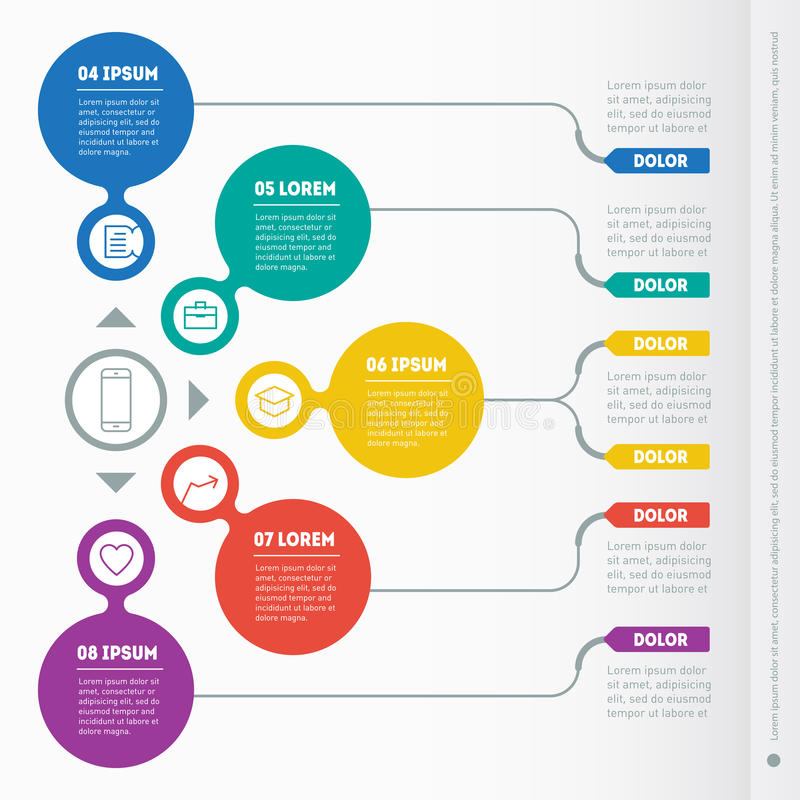 Part of the report with icons set. Vector infographic of technology or education process. Business concept with 5 options. Web Te. Mplate of a infochart, diagram royalty free illustration
