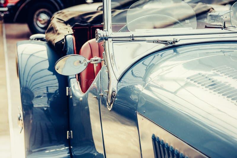 Part retro car close-up. Beautiful style transport exhibition. Part retro car close-up. Beautiful retro style transport exhibition stock photography
