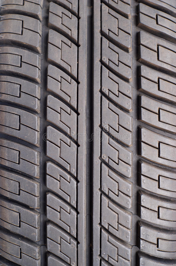 Part Of Rubber Black Car Tire Closeup Stock Image