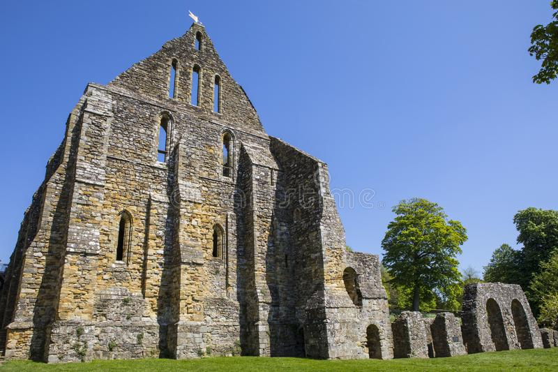Ruins of Battle Abbey in East Sussex. Part of the ruins of the historic Battle Abbey in the town of Battle in East Sussex. The Abbey is located on the royalty free stock photo
