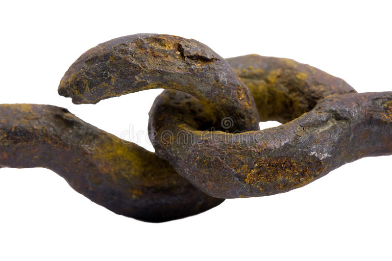 The part of rusty metal chain. Close up royalty free stock photo