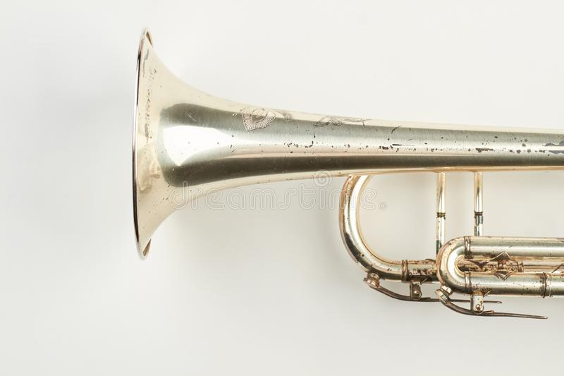 Part of rusty trumpet instrument. royalty free stock photos
