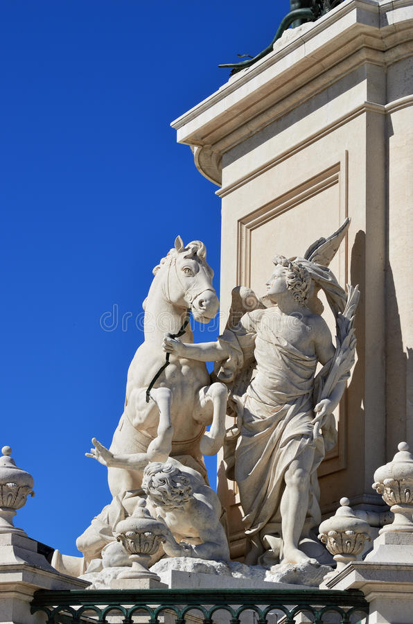 Part of sculpture King Jose I in Lisbon, Portugal. Detail of the equestrian statue of King Jose I on Praca do Comercio Commerce Square in Lisbon, Portugal royalty free stock photo