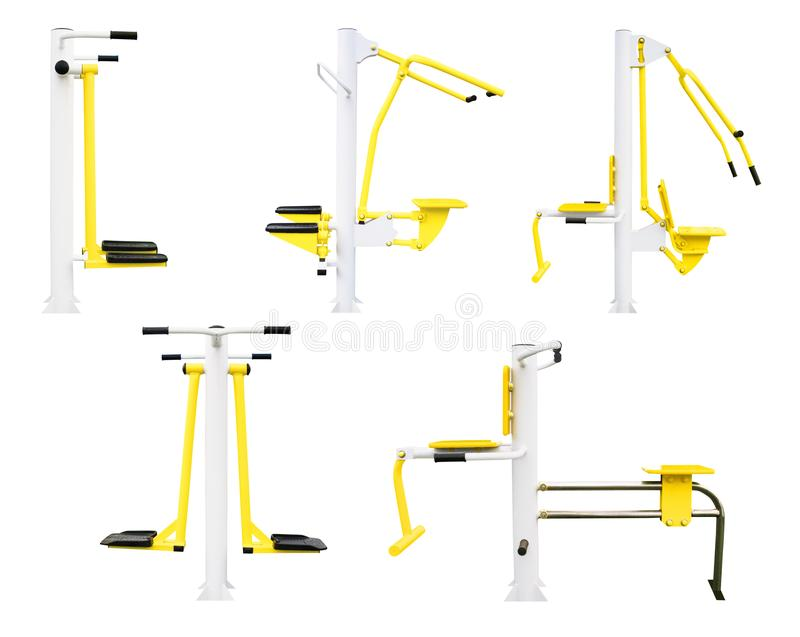 Equipment for gym and fitness. Part 1. Set of gym machines for legs, chest, back etc. exercising. Side view of fitness equipment isolated on white background royalty free illustration