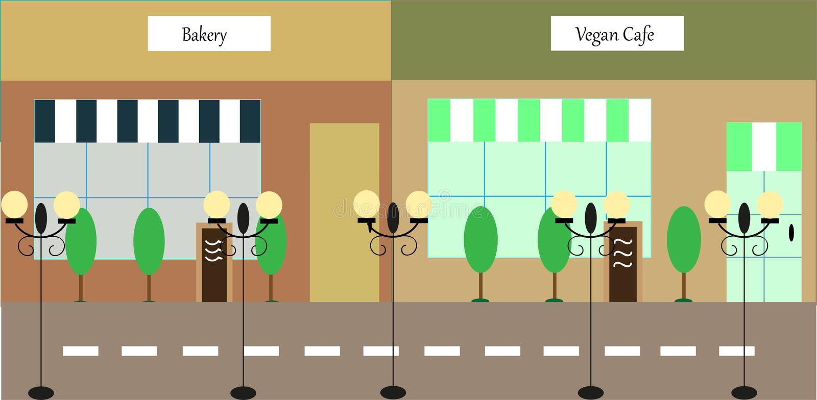 Part of a shopping street with two shops stock illustration