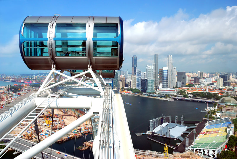 Part of Singapore flyer. Largest wheel in the world royalty free stock images