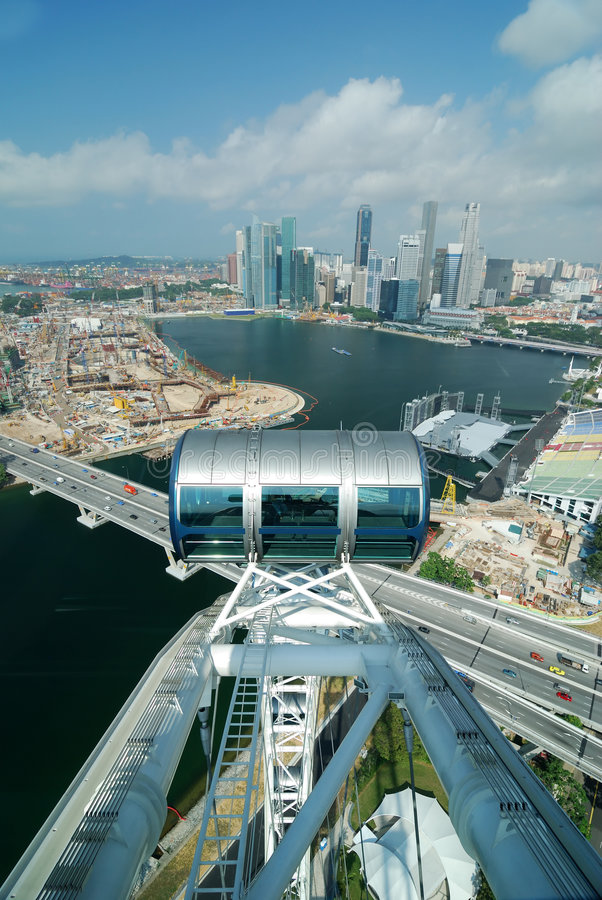 Part of Singapore flyer. Largest wheel in the world royalty free stock photos
