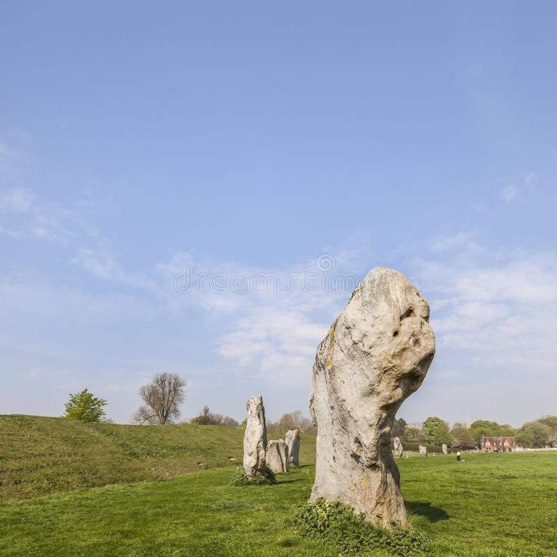 Avebury Stone Circle Wiltshire England. Part of the stone circle at Avebury Great Henge, a UNESCO world heritage site dating back 5000 years, in Wiltshire royalty free stock photos