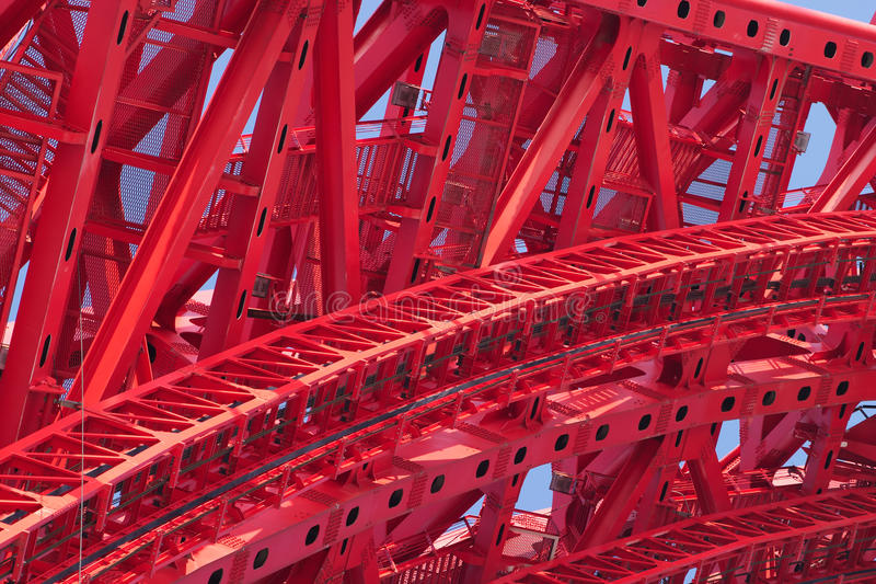 Part of strong red bridge frame closeup stock images