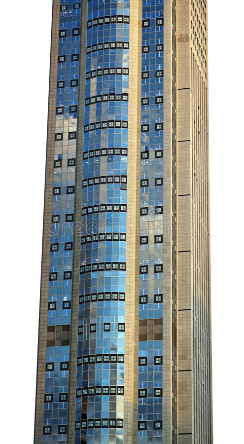 Isolated Skyscraper Excerpt. Part of a super high skyscraper isolated on white background royalty free stock image