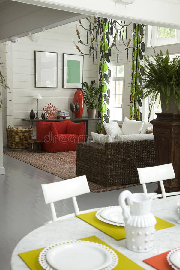 A part of table. And living room in perspective stock images