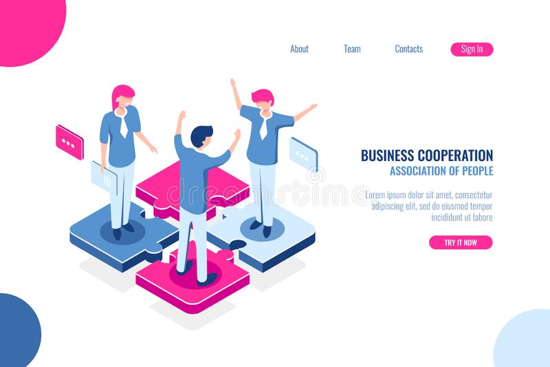 Part of the team, business puzzle concept, joint decision making, teamwork marketing, isometric flat vector vector illustration