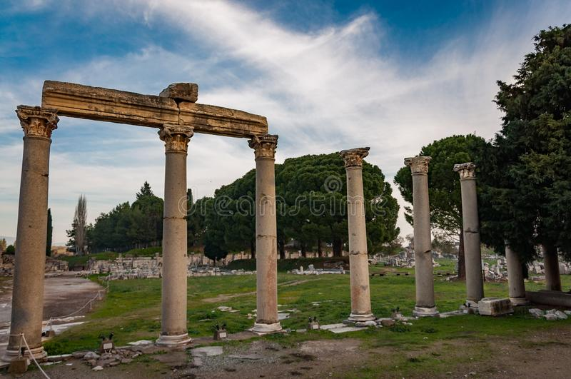 Part of temple in Ephesus, Turkey. The ancient city is listed as a UNESCO World Heritage Site. Selcuk, Izmir royalty free stock images