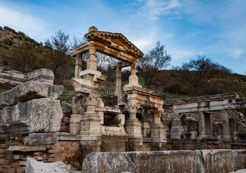 Part of temple in Ephesus, Turkey. The ancient city is listed as a UNESCO World Heritage Site. Selcuk, Izmir, Turkey stock photography