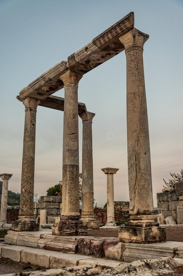 Part of temple in Ephesus, Turkey. The ancient city is listed as a UNESCO World Heritage Site. Selcuk, Izmir. Sunset background royalty free stock photography