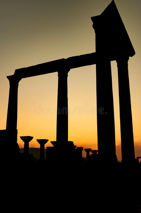 Part of temple in Ephesus, Turkey. Silhouette structure. The ancient city is listed as a UNESCO World Heritage Site. Sunset background royalty free stock photos