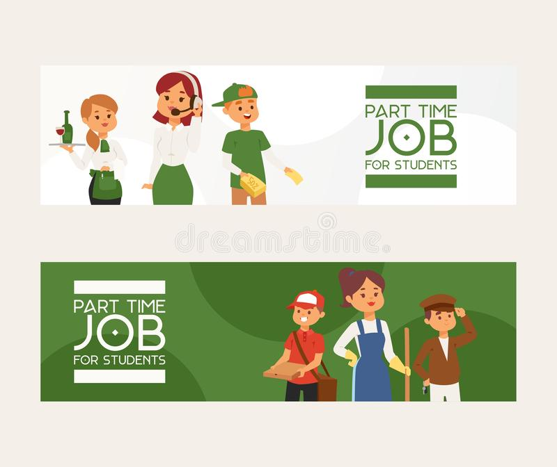 Part-time job vector young woman man character at part time work cleaner waitress in cafe and pizza deliveryman. Illustration backdrop ad of temporary royalty free illustration