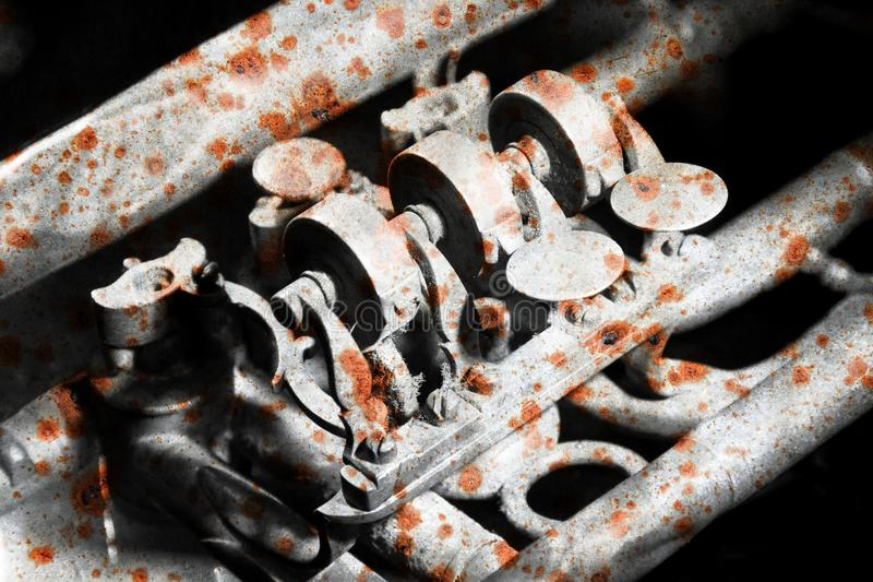 Part of a very old trumpet - Rusty royalty free stock image