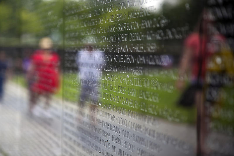 Part of Vietnam Memorial Wall with the names of servicemen killed or missing in action stock photos