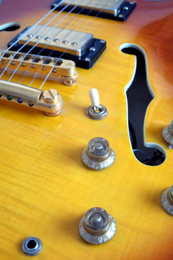 Part of vintage semi-hollow body electric guitars stock image